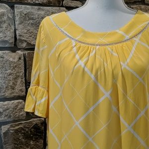 Crown & Ivy Dress Yellow/White Size Medium